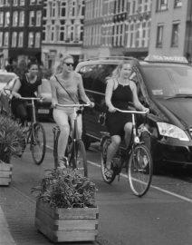 Amsterdam 3 woman on bikes,  Black & White Photo