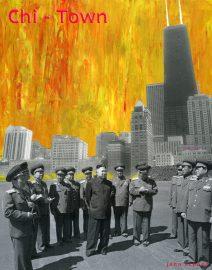 Hand Painted Black & White Photo, Chi-Town Kim Jong-un, orange burning sky, John Hancock Building Chicago, Oak Street Beach