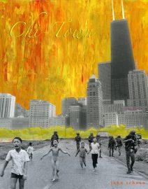 Hand Painted Black & White Photo, Chi-Town Napalm Girl, Phan The Kim Phuc, Vietnam, orange burning sky, John Hancock Building Chicago, Oak Street Beach