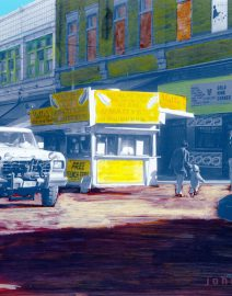 Hand Painted Black & White Photo, Chicago Maxwell Street Corner, Yellow, Maxwell street polish