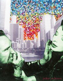Hand Painted Black & White Photo, Blue Velvet Pocked Marked Chicago Sky, David Lynch, Dennis Hopper, Isabella Rossellini