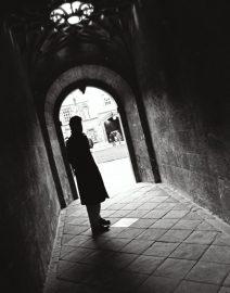 London Man in dark walkway