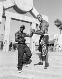 Flexing Muscle Men - Venice Beach, Black & White Photo, Los Angeles