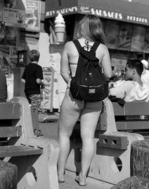 Girl in thong with backpack, Black & White Photo, Los Angeles