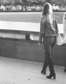 Women at September 11 Memoriall New York City, Black & White Photo, New York City
