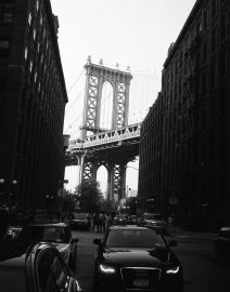 Manhattan Bridge from Brooklyn DUMBO area, Black & White Photo, New York City