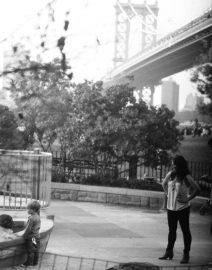 Mother Child Manhattan Bridge Park, Black & White Photo, New York City