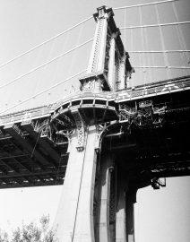 Manhattan Bridge from Below, Black & White Photo, New York City