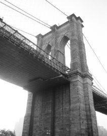 Brooklyn Bridge from Brooklyn side, Black & White Photo, New York City, Black & White Photo, New York City
