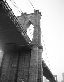 Brooklyn Bridge from Brooklyn side, Black & White Photo, New York City