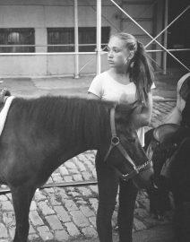 Girl & Horse Central Park Manhattan, New York City, Long Hair Girl ,white T-shirt, Black & White Photo, New York City