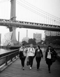 Woman Walking Manhattan Park Sidewalk, Black & White Photo, New York City