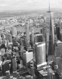 New York City View From Helicopter, Black & White Photo, New York City