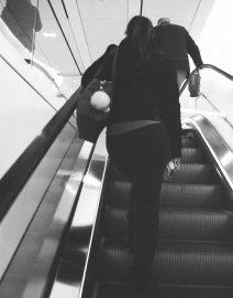 Woman's Legs Escalator New York City, Black & White Photo, New York City