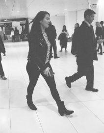 Woman Walking World Trade Center Station, Black & White Photo, New York City