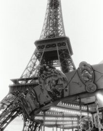 Eiffel Tower View From Street with Carousel, Paris, black & White photo