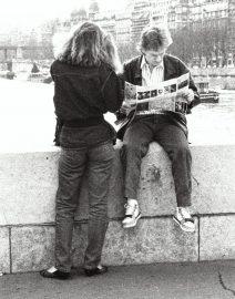 Couple on Bridge Seine River, Paris, black & White photo