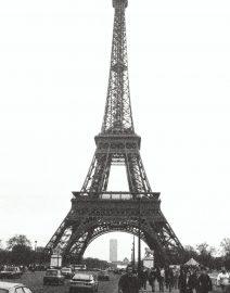 Eiffel Tower View From Street Skyward, Paris, black & White photo