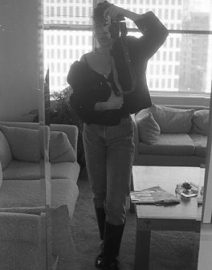 Woman Black Bra with Camera, Black & White Photo