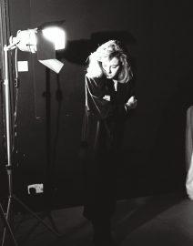 Woman at Photo Shoot, Black & White Photo