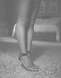 Woman Leopard Heels, Black & White Photo