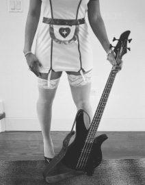 Woman Nurse Guitar, Black & White Photo