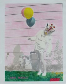 Pink wall, girl with giraffe mask holding balloons, yellow & blue balloons, girl in white coat by gas meter with balloons and mask, green grass, Hand Colored Black & White photo, 20 inch by 24 inch