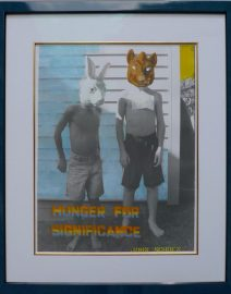Hunger for significance, boys in masks, bunny mask, boys in shorts standing, Hand Colored Black & White photo, 20 inch by 24 inch
