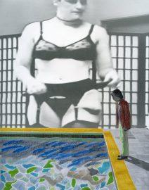 Dominatrix, black stockings, thick woman, garter belt, David Hockney Pool painting