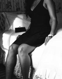woman black dress on bed, Black & White Photo