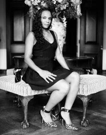 woman black dress on Cushion, Black & White Photo