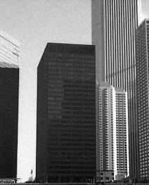 Chicago Leo Burnett Building from Below Bridge