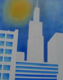 1985 view of Sear's Tower, Vintage view of Willis Tower, Chicago. Vintage Chicago, Orange sun, Blue Sky, White city