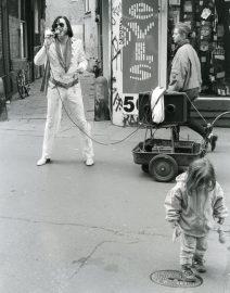 Evis Impersonator Amsterdam Street, Black & White Photo