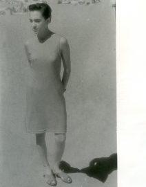 Girl in Dress on Beach, Black & White Photo